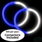 8″ Bi-Color Glow Bracelet Blue/White (100-Pack)