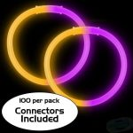 8″ Bi-Color Glow Bracelet Purple/Orange (100-Pack)