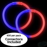 8″ Bi-Color Glow Bracelet Red/Blue (100-Pack)