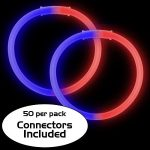 8″ Bi-Color Glow Bracelet Red/Blue (50-Pack)