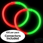 8″ Bi-Color Glow Bracelet Red/Green (100-Pack)