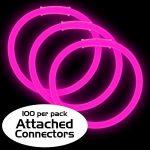 8″ Premium Glow Bracelets – Pink (100-Pack)